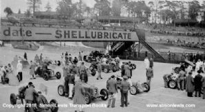 Brooklands JCC International Trophy 1938. ERAs, Alfas, MGs await start.